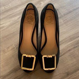 Tory Burch peep toe suede wedge heels